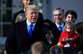 FILE - President Donald Trump speaks to participants of the annual March for Life event, in the Rose Garden of the White House in Washington, Jan. 19, 2018.