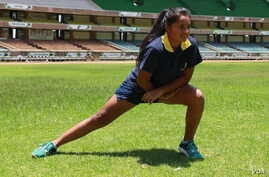 Banita Dodhia, 14, warms up before another workout in preparation for the javelin competition at the IAAF World Under 18 Championships in July in Nairobi. (L. Ruvaga/VOA)