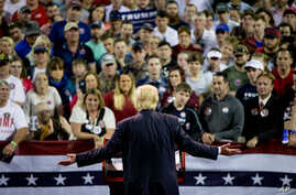 Republican presidential candidate Donald Trump speaks at a rally at Valdosta State University in Valdosta, Ga., Monday, Feb. 29, 2016.