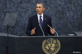 U.S. President Barack Obama addresses the 68th United Nations General Assembly at UN headquarters in New York, September 24, 2013.  REUTERS/Mike Segar (UNITED STATES  - Tags: POLITICS)   - RTX13XML