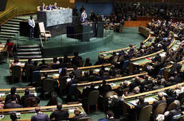 The UN General Assembly listening to President Obama's speech at United Nations headquarters in New York, September 21, 2011. The body's attention this week is focused on the Palestinian request for full membership.