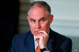 Environmental Protection Agency Administrator Scott Pruitt attends a meeting at the White House in Washington, Feb. 12, 2018.   Trump is offering his support to the head of the Environmental Protection Agency who is at the center of ethics questions.