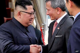 In this photo released by the Ministry of Communications and Information of Singapore, North Korean leader Kim Jong Un is greeted by Singapore Minister for Foreign Affairs Dr Vivian Balakrishnan at the Changi International Airport, June 10, 2018.