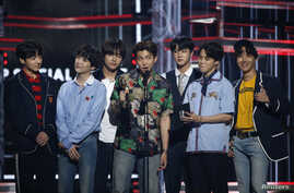 BTS accepts the Top Social Artist award at the 2018 Billboard Music Awards, Las Vegas, Nevada, May 20, 2018.