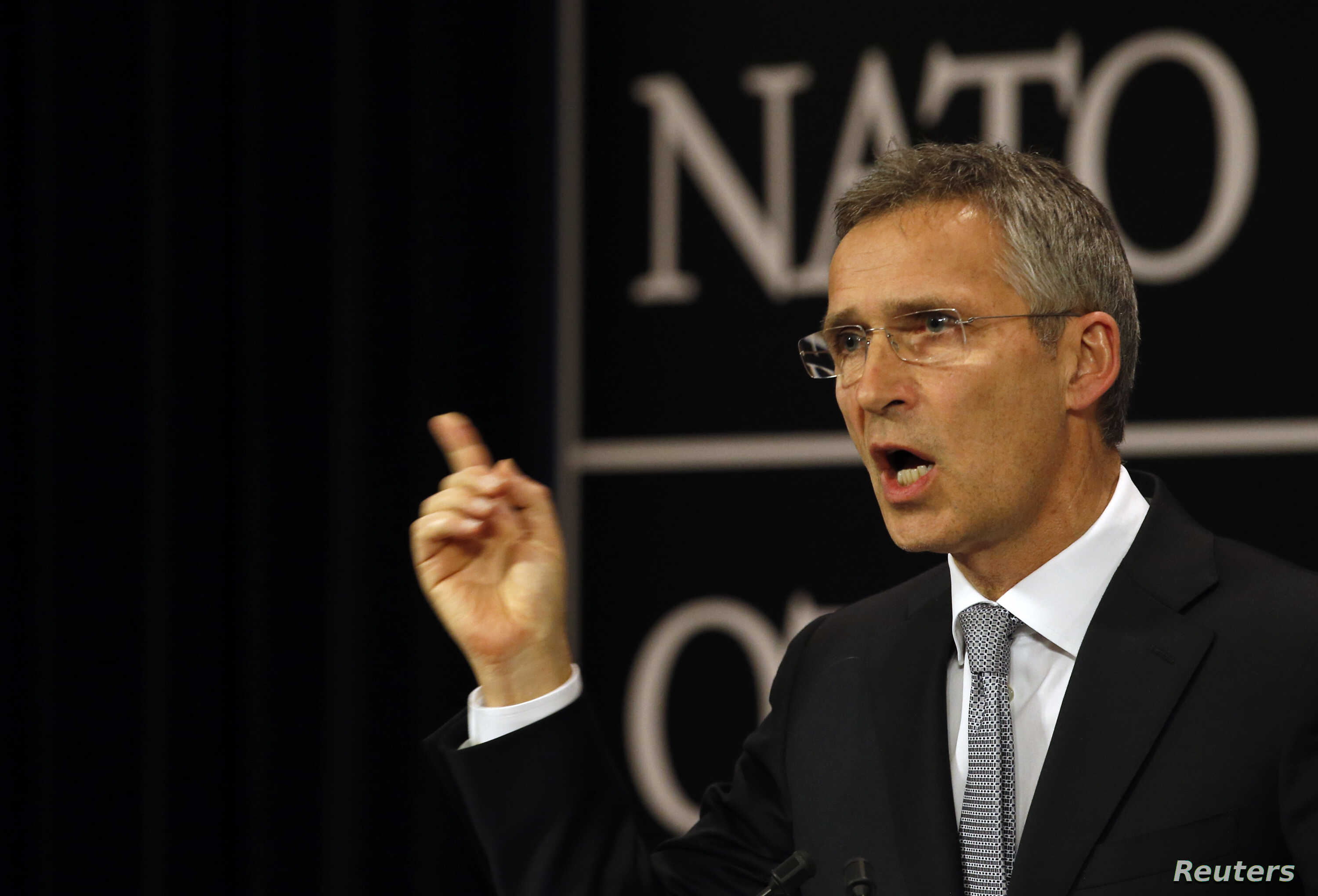 NATO Secretary General Jens Stoltenberg, shown at a news conference in Brussels, Belgium, July 13, 2016, said NATO and Russia remain at loggerheads over Ukraine but will consider a proposal to reduce the risk of an accidental military confrontation i