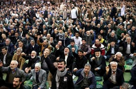 Iranian worshippers chant slogans during the Friday prayer ceremony in Tehran, Iran, Jan. 5, 2018.