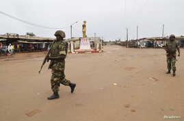 FILE - Burundian peacekeepers are seen patrolling a neighborhood in Bangui, capital of the Central African Republic, April 30, 2014.