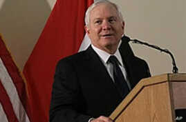 U.S. Secretary of Defense Robert Gates speaks to workers at the US Embassy in the Green Zone in Baghdad, Iraq, 10 Dec 2009