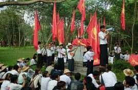 Students rally on the site of the Univ. of Yangon student union, which was dynamited by authorities during clashes in 1962.