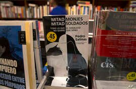 """The book """"Half Monks, Half Soldiers"""" stands for sale at a bookstore in Lima, Peru, Oct. 31, 2015."""
