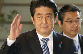 Japan's Prime Minister Shinzo Abe is seen at his official residence in Tokyo, in this photo taken by Kyodo Dec. 26, 2013.