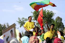 People take part in an Ethiopian People's Revolutionary Democratic Front (EPRDF) election rally in Addis Ababa, May 20, 2015.