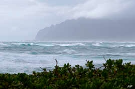 Waves break as Tropical Storm Olivia approaches Oahu, Sept. 12, 2018 in Laie, Hawaii.