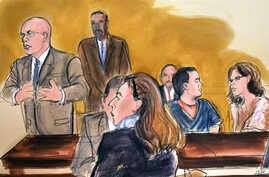 """In this courtroom drawing, notorious Mexican drug lord Joaquin """"El Chapo"""" Guzman (2nd-R), looks in the direction of his wife (not pictured) in the audience as his defense attorney Eduardo Balarezo (L) speaks in federal court where he said his client'"""