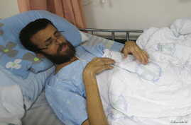 Palestinian journalist Mohammed al-Qeq, 33, who has been on hunger strike for more than 70 days to protest at his administrative detention in an Israeli jail, is seen at Haemek hospital in the northern Israeli city of Afula, Feb. 5, 2016.