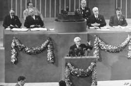 File - Joseph Paul Boncour of France, center, addresses the final session of the United Nations conference after the creation of its charter, as U.S. President Harry S. Truman, second from top left, and U.S. Secretary of State Edward R. Stettinius, s