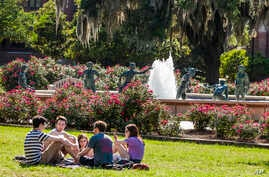 """FILE - Florida State University students are seen sitting on the campus of Florida State University in Tallahassee, Florida, April 30, 2015. Increasing numbers of students are now taking a """"gap year"""" before enrolling in colleges to gai"""
