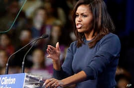 First lady Michelle Obama speaks during a campaign rally for Democratic presidential candidate Hillary Clinton in Manchester, N.H., Oct. 13, 2016.