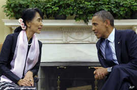 President Barack Obama meets with Myanmar democracy leader Aung San Suu Kyi in White House Sept. 19, 2012