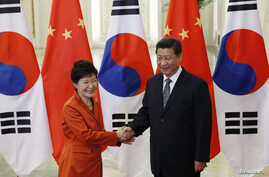 China's President Xi Jinping (R) shakes hands with South Korea's President Park Geun-hye in front of Chinese and South Korean national flags during a meeting at the Great Hall of the People, on the sidelines of the Asia Pacific Economic Cooperation (