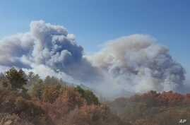 This photo provided by California Department of Forestry and Fire Protection shows smoke billowing from a wildfire near Lake Nacimiento in San Luis Obispo County, Calif., Aug. 20, 2016.