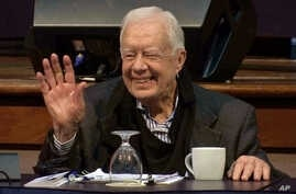 Former President Jimmy Carter attends the annual Human Rights Defenders Forum at The Carter Center, May 9, 2017, in Atlanta. Carter was hospitalized in Canada after becoming dehydrated while helping to build 150 Habitat for Humanity houses in Canada.