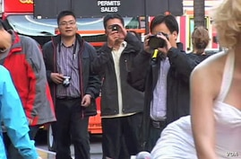 Chinese tourists in Los Angeles.