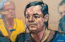 "Joaquin ""El Chapo"" Guzman, is shown in a sketch of his court appearance at the Brooklyn Federal Courthouse in the Brooklyn borough of New York City, New York, May 5, 2017."