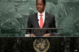 Zambia's President Edgar Lungu speaks during the 71st session of the United Nations General Assembly, Sept. 20, 2016, at U.N. headquarters.