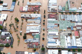 Floodwaters can be seen in the center of the northern New South Wales town of Lismore, Australia, March 31, 2017, after heavy rains associated with Cyclone Debbie swelled rivers to record heights across the region.