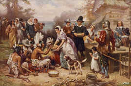 A painting by Jean Leon Gerome Ferris titled 'The First Thanksgiving' shows pilgrims and Native Americans gathering to share a meal.