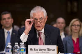 Secretary of State-designate Rex Tillerson testifies on Capitol Hill in Washington, at his confirmation hearing before the Senate Foreign Relations Committee, Jan. 11, 2017.