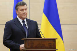 Ousted Ukrainian President Viktor Yanukovich makes a statement during a news conference in the southern Russian city of Rostov-on-Don, March 11, 2014. Yanukovich said on Tuesday that Crimea is breaking away from Ukraine and blamed opponents who force