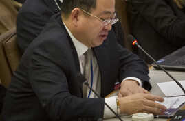 FILE - Choe Myong Nam, a North Korean official in charge of U.N. affairs and human rights, speaks during a meeting of the U.N. General Assembly human rights committee, Nov. 18, 2014.