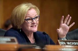 FILE - Senate Homeland Security and Governmental Affairs Committee ranking member Sen. Claire McCaskill, D-Mo., asks a question during a hearing on Capitol Hill in Washington, June 6, 2017.