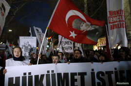 FILE - Demonstrators rally against Turkey's ruling AK Party and demand the resignation of Prime Minister Tayyip Erdogan in Ankara Dec. 27, 2013.