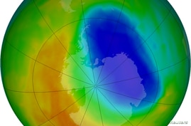 FILE - A false-color view of total ozone over the Antarctic pole is seen in this NASA handout image released Oct. 24, 2012. The purple and blue colors are where there is the least ozone.  The average area covered by the Antarctic ozone hole in that y...