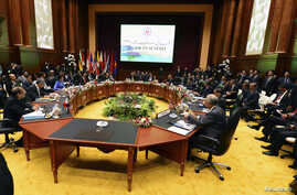 General view of the meeting room at the 23rd ASEAN Summit in Bandar Seri Begawan October 9, 2013. REUTERS/Ahim Rani (BRUNEI - Tags: POLITICS) - RTX144DS