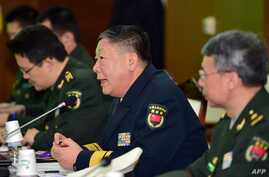 Rear Admiral Guan Youfei (C), director of Foreign Affairs Office of China's National Defence Ministry, speaks during annual working-level talks with South Korea at the Defense Ministry in Seoul on Jan. 15, 2016. North Korea's latest nuclear test high