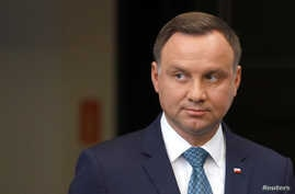 Poland's President Andrzej Duda looks on after his media announcement about Supreme Court legislation at Presidential Palace in Warsaw, July 24, 2017.