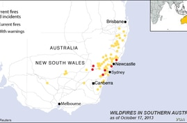 Location of wildfires in southern Australia