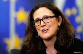 European Trade Commissioner Cecilia Malmstrom speaks during an interview with Reuters at the EU Commission headquarters in Brussels, Belgium, Jan. 15, 2018.