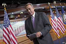 Speaker of the House John Boehner after meeting with reporters as Congress prepares to shut down until after the elections in November, Sept. 21, 2012.