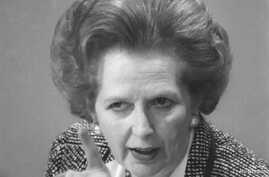 Then British Prime Minister Margaret Thatcher points a finger as she answers questions at a news conference in London, June 8, 1987.