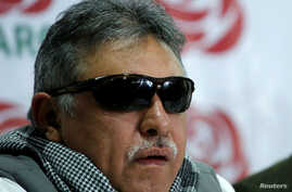 Colombia's Marxist FARC Jesus Santrich speaks during a news conference in Bogota, Colombia, Nov. 16, 2017.