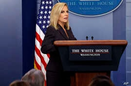 Secretary of Homeland Security Kirstjen Nielsen arrives for the daily press briefing at the White House, April 4, 2018, in Washington.