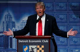 Republican presidential candidate Donald Trump delivers an economic policy speech to the Detroit Economic Club, Aug. 8, 2016, in Detroit, Michigan.