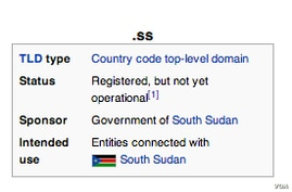 A Wikipedia explanation of the .ss top-level domain.