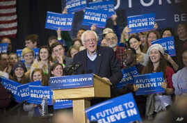 Democratic presidential candidate Sen. Bernie Sanders, I-Vt., smiles during a campaign stop at Great Bay Community College, Sunday, Feb. 7, 2016, in Portsmouth, N.H.