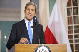 Secretary of State John Kerry speaks at the State Department in Washington, Jan. 7, 2015.